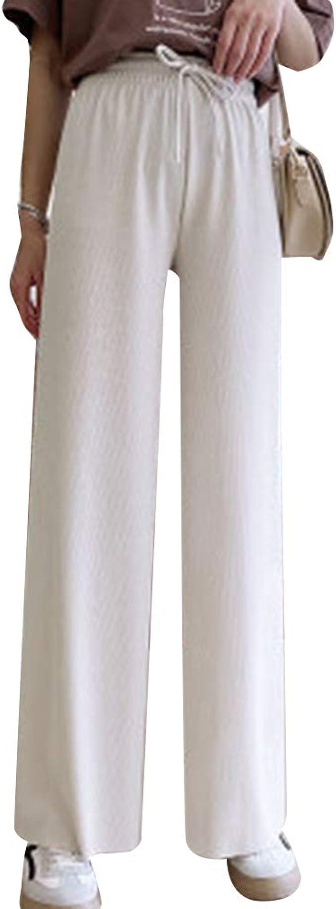 Damen Weites Bein Hosen Knöchellang Plissiert Eis Seide Hohe Taille Locker