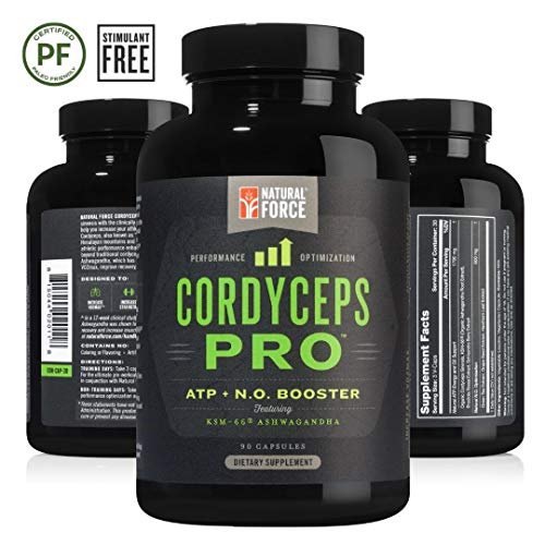 Adaptogen Blend Cordyceps Pro, Best Adaptogens for Strength, Stamina, and Stress Relief*, Stimulant Free Adrenal Support Supplement, Made with Ashwagandha, Cordyceps, and Herbs by Natural Force, 90ct