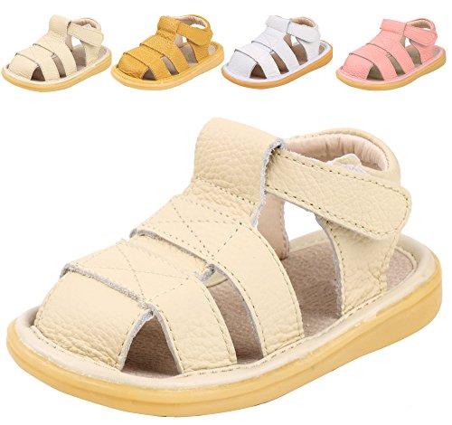 LONSOEN Toddler Boy Girl Summer Outdoor Closed-Toe Leather Sandals(Infant/Toddler),Beige KSD002 CN19 (Sandals Beige Kids)