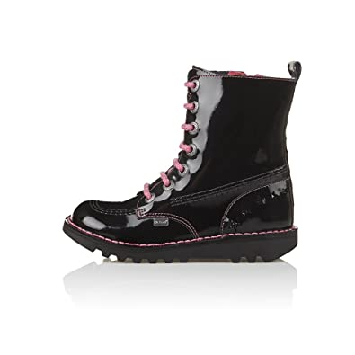 02147bea Kickers Kick So Hi Star 2 Junior Black Patent Boots - Girls Black Patent Leather  Kickers