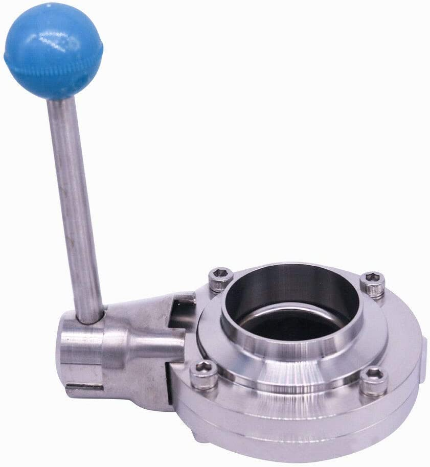 BoTaiDaHong 2 Inch Weld Sanitary Butterfly Valve Silicone Sealing Stainless Steel 304 3-Clamp Cover Silicone Sealing