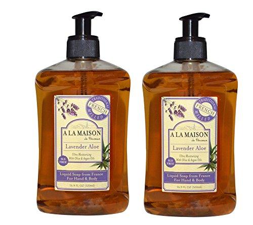 A La Maison de Provence Lavender Aloe Liquid Hand and Body Soap (Pack of 2) With Argan Oil, Olive Oil and Vitamin E, 16.9 fl oz Each ()