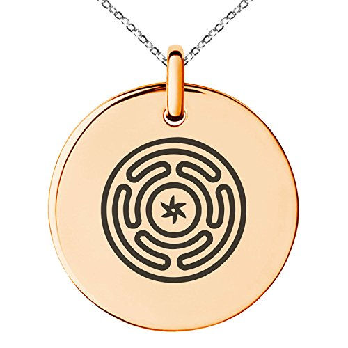 ated Stainless Steel Hecate Greek Goddess of Magic Symbol Engraved Small Medallion Circle Charm Pendant Necklace ()