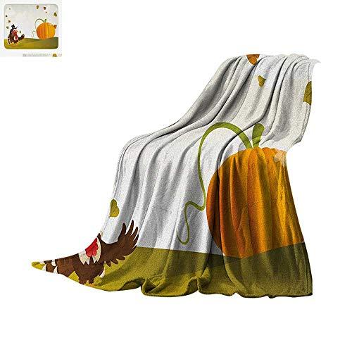 Turkey Custom Design Cozy Flannel Blanket Happy Pilgrim Poultry Animal with a Giant Pumpkin on Green Hills of The Farmland Digital Printing Blanket 90