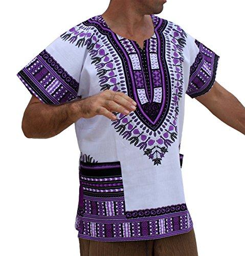 RaanPahMuang Brand Unisex Bright African White Dashiki Cotton Shirt #16 Medium Purple Medium ()
