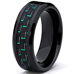 Black Titanium Wedding Band Ring with Black and Green Carbon Fiber inlay, Comfort fit 8mm, Sizes 7 to 13