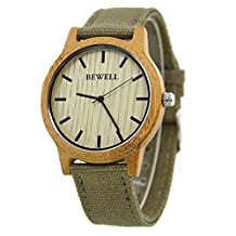 Bewell W134A Unisex Wooden Dial Wrist Watches Japan Quartz Watch with Canvas Strap Band Wristwatch Retro Style for Men & Women (Carbide Bamboo)