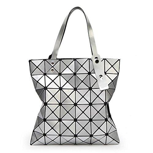 Geometría Bolsos de mano Bolsos de mujer Bolsos de hombro de gran capacidad Desgin Lady Bolsos de compras Beige 32.5X32.5 cm Silver