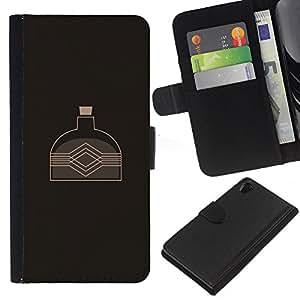 LECELL--Cuero de la tarjeta la carpeta del tirón Smartphone Slots Protección Holder For Sony Xperia Z2 D6502 -- La caldera del agua --