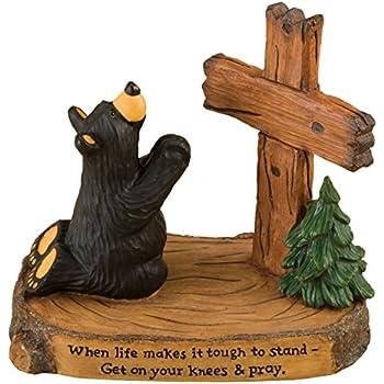 DEMDACO Pray Black Bear 5 x 5.5 Hand-cast Resin Figurine Sculpture