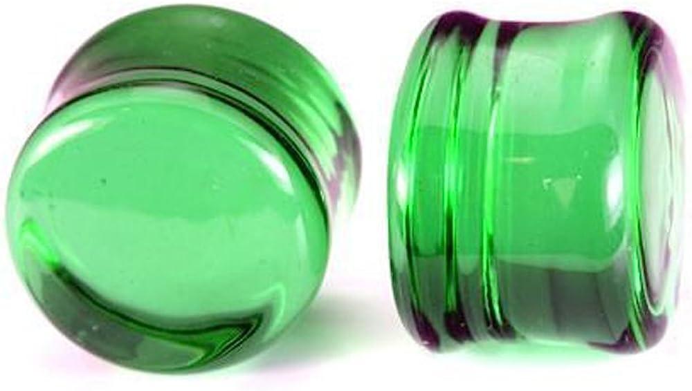 Painful Pleasures Flat Plugs Green Glass - Ear Gauge Jewelry - Price Per 1