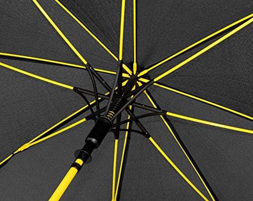 Baciami Pivoso Paraguas Grandes Estructura Reforzada con Fibra de Vidrio en Amarilo Hombre Mujer Umbrella Automatico Antiviento ⌀ 95cm Paraguas Golf-Business Negro