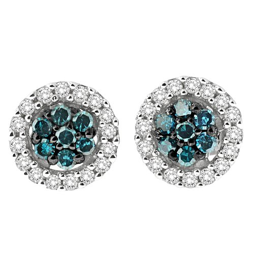 Sterling Silver White and Blue Diamond Halo Stud Earrings