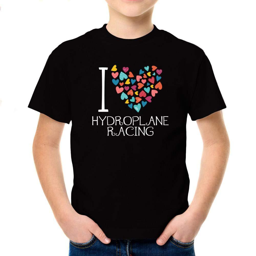 Idakoos I Love Hydroplane Racing Colorful Hearts Boy T-Shirt