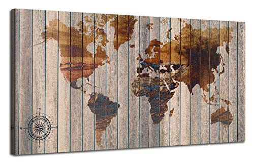 Canvas Wall Art World Map Vintage Beige Painting Poster One Panel 48