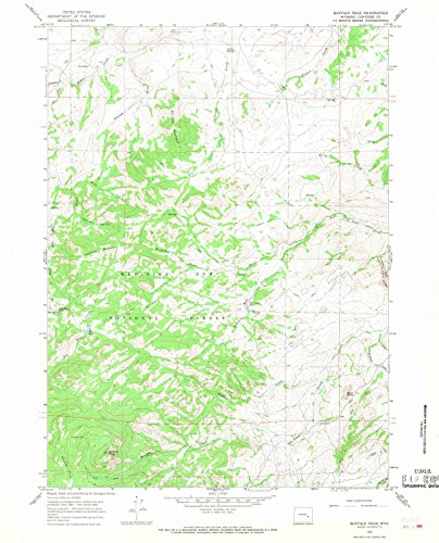 Wyoming Maps | 1964 Buffalo Peak, WY USGS Historical Topographic Map | Cartography Wall Art | 35in x 44in
