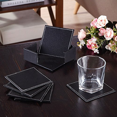YaYiYo 6pcs Double-deck Leather Coasters Set with Coaster Holder PU Leather Coffee Tea Cup Pad Cup Mat