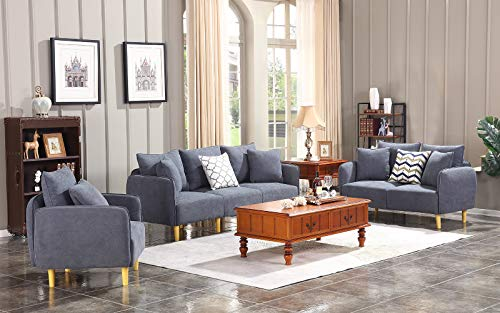 Honbay 3 Piece Chair Loveseat Sofa Sets for Living Room Furniture Sets, Dark Grey