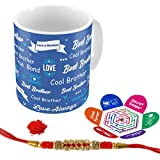 Indigifts Love For Brother 325 Ml Blue Ceramic Coffee Mug