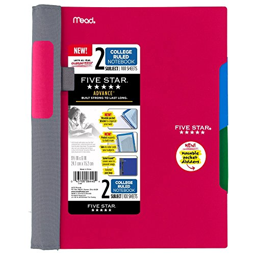 Five Star Advance Spiral Notebook-Medium Size, 2 Subject, College Ruled, 9.5 x 6 Inch, Red (73158)