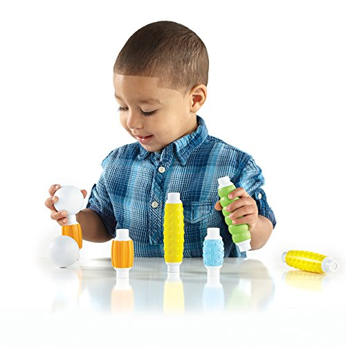 51cv%2BiYVC4L - Guidecraft Grippies Builders - 20 Piece Set, Tactile STEM Soft Grip Magnetic Building Toy for Toddlers