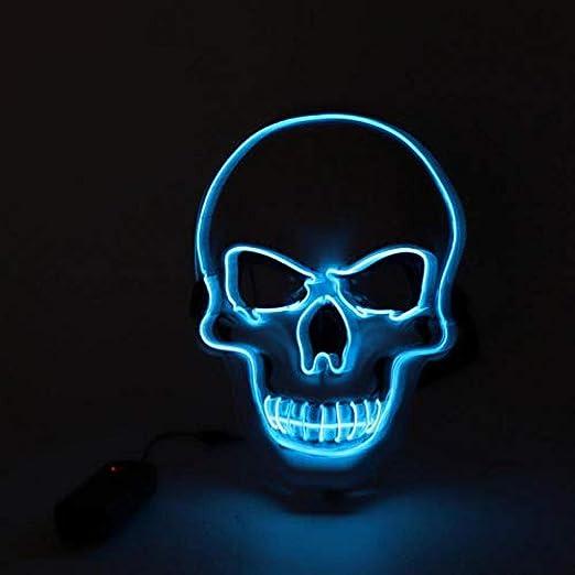 Mascara Nueva máscara LED de Halloween EL Wire Woven Skull ...