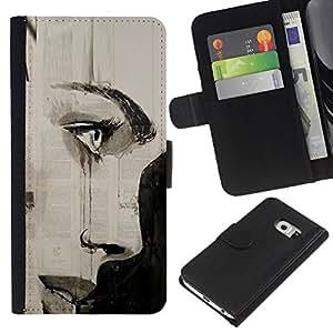 For Samsung Galaxy S6 EDGE Case , Charcoal Art Painting Eye Lips - la tarjeta de Crédito Slots PU Funda de cuero Monedero caso cubierta de piel