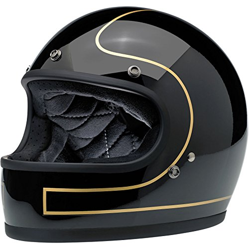 Biltwell Gringo Le Tracker Helmet (Gloss Black/Gold, XX-Large)