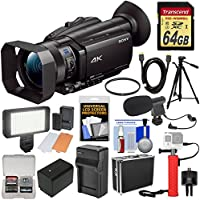 Sony Handycam FDR-AX700 4K HD Video Camera Camcorder with 64GB Card + Battery & Charger + Hard Case + LED Light + Microphone + Tripod + Filter + Kit