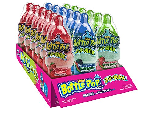 Baby Bottle Pop 2D Max Candy Lollipops with Dipping Powder & Pebbles, 1.3 oz (Pack of 18)]()