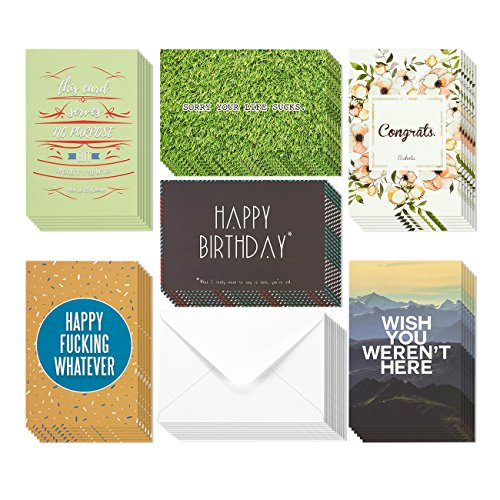 36 Pack Offensive Funny Rude All Occasion & Happy Birthday Greeting Cards, 6 Handwritten Modern Artistic Style Colorful Designs, Bulk Box Set Variety Assortment, Envelopes Included 4 x 6 Inches
