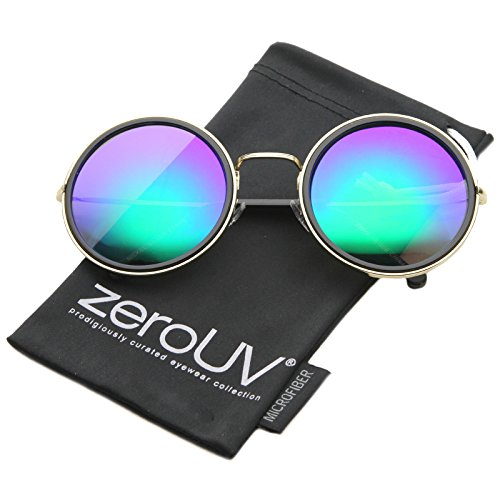 zeroUV - Retro Metal Frame Thin Temple Color Mirror Lens Round Sunglasses 55mm (Gold-Black / Green Blue - Sunday Somewhere Sunglasses