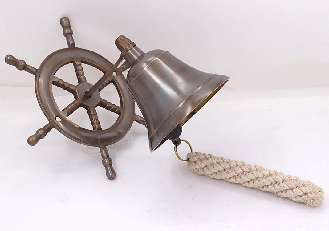 Ship bell, bell with cord, wall mount as steering wheel brass burnished By The Metal Magician