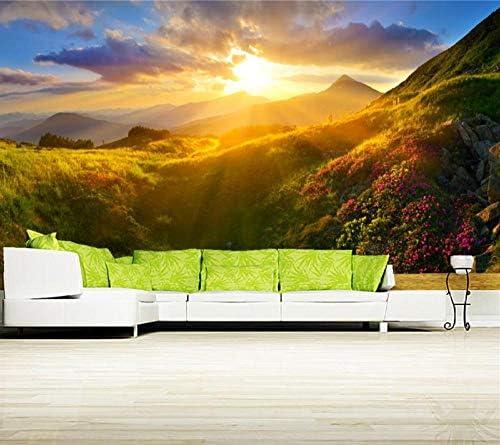 Ansyny カスタムメイド日の出と日没山グラスライトネイチャーレストランレストランバーリビングルームソファーテレビ壁寝室壁画-280X180CM