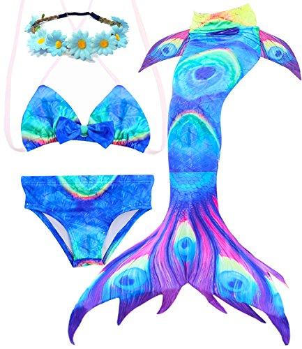 3 Pcs Mermaid Costume for Girls Bathing Swimsuit Swimwear Princess Sea-Maid Bikini Set July Deals