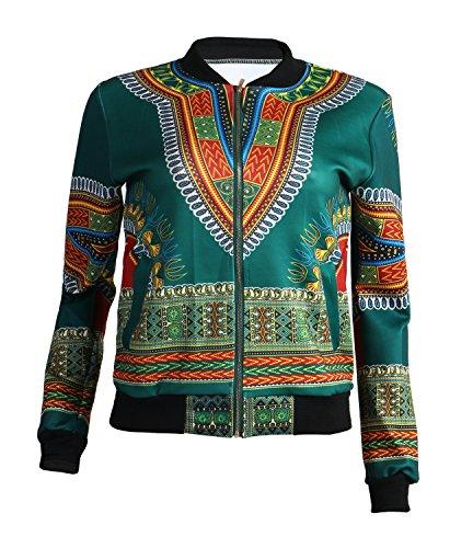 Playworld Women's Long Sleeve Print Dashiki Ethnic Style Africa Baseball Jacket,Green,Medium by Playworld (Image #3)
