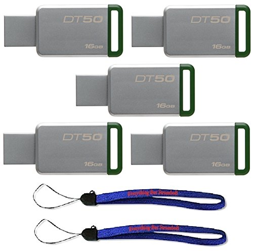 - Kingston (TM) Digital 16GB (5 Pack) USB 3.0 Data Traveler 50 Flash Drive DT50, 30MB/s Read, 5MB/s Write Speed with (2) Everything But Stromboli (TM) Lanyard (DT50/16GB)