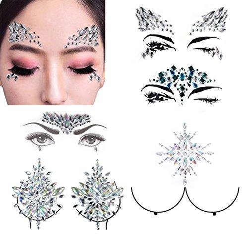 3 Sets Face Gems Festival Jewels Crystals Bindi Rhinestone Tattoo Face Rocks with 2 Sets Nipple Crystal Gem Stones by PIAOPIAONIU