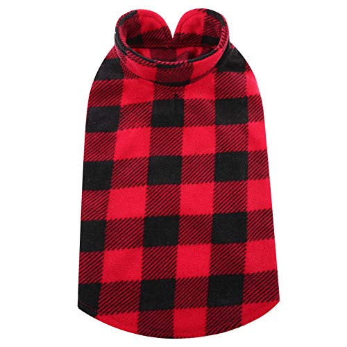 Kuoser Dog Classic Plaid Fleece Coat Puppy Pullover for Teddy Chihuahua Yorkshire Soft Dog Sweater Warm Pet Vest Jacket with Harness Hole for Small /& Medium Dog and Cat