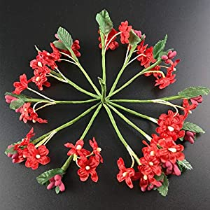 12PCS Mini Fabric Cherry Plum Blossom Artificial Flower Silk Baby Breath Floral Bouquet Table Arrangements Wedding Decorations,4 5