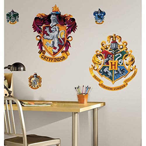 - 5 Piece Kids Yellow Purple Blue Harry Potter Wall Decals Set, Movie Themed Wall Stickers Peel Stick, Fun House Crest Wizards Hogwarts Gryffindor Wands Lion Ships Decorative Graphic Mural Art, Vinyl