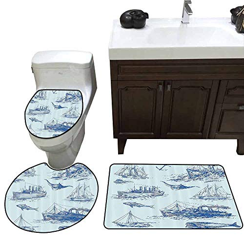 3 Piece Toilet lid Cover mat Set Nautical Decor Nautical Undersea Wildlife Shark Ancient Boat Ships Navy Stormy Weather Customized Rug Set ()