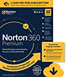 Norton 360 Premium - Antivirus software for 10 Devices with Auto Renewal - Includes VPN, PC Cloud Backup & Dark Web Monitoring powered by LifeLock - 2020 Ready [Download]