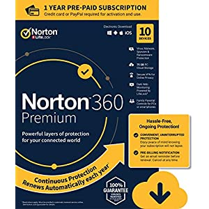 Norton 360 Premium – Antivirus software for 10 Devices with Auto Renewal – Includes VPN, PC Cloud Backup & Dark Web Monitoring powered by LifeLock – 2020 Ready [Download]