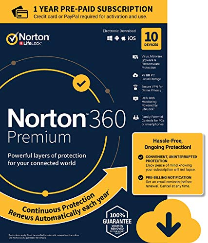 NEW Norton 360 Premium - Antivirus software for 10 Devices with Auto Renewal - Includes VPN, PC Cloud Backup & Dark Web Monitoring powered by LifeLock - 2020 Ready [Download]