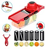 Jazz Pose 6 in One Multi-function Vegetable Grater, Mandoline Slicer, Potato Chipper, Food Cutter with Storage Container for Onion, Tomato, Cucumber, Carrots, Fruits.