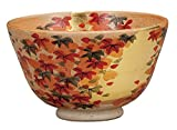 Kutani Yaki Gold Leaf Autumn Leaf Pottery 4.9inch Matcha Bowl