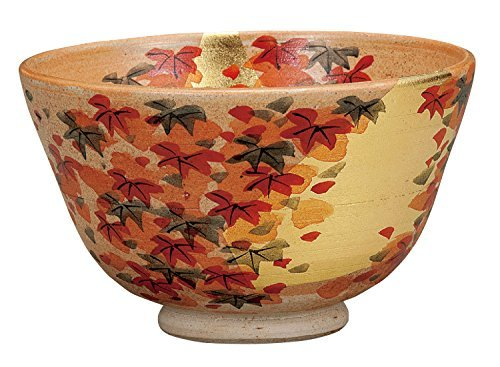 Kutani Yaki Gold Leaf Autumn Leaf Pottery 4.9inch Matcha Bowl by Watou.asia