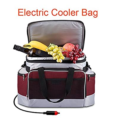 YAPA 12 Volt Car Connect Travel Cooler Bag Lightweight Portable Thermoelectric Refrigerator Come with Car Cable Charging Small Outdoor Fridge for Camping,Beach Trip,Picnic