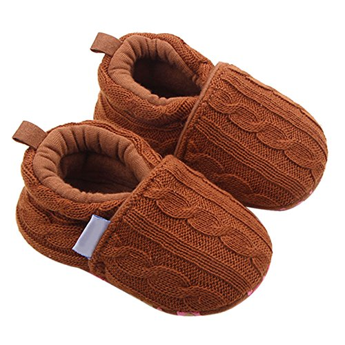 Jshuang Fashion Baby Shoes, Sports Shoes, Non-Slip Soft Soles, Children's Shoes, Baby Wool Knit Cloth Can Not Afford Shoes, 0~18 Month,Coffee (Coffee, 13)